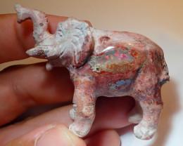 100ct Elephant Figurine Mexican Cantera Fire Opal
