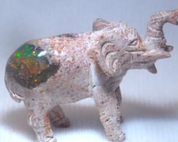 70ct. Elephant Mexican Cantera Fire Opal Figurine