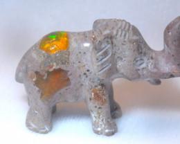 50ct. Elephant Mexican Cantera Fire Opal Figurine