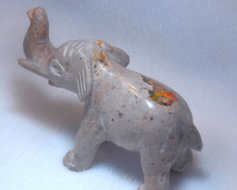90ct. Elephant Mexican Cantera Fire Opal Figurine