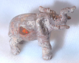 90ct. Elephant Mexican Cantera Fire Opal Figurine