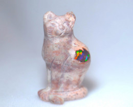 60ct. Cat Mexican Cantera Fire Opal Figurine