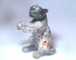 70ct. Jaguar Mexican Cantera Fire Opal Figurine