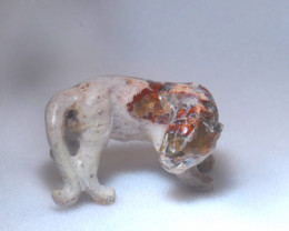 50ct. Jaguar Mexican Cantera Fire Opal Figurine