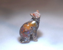 50ct. Jaguar Mexican Cantera Fire Opal Figurine