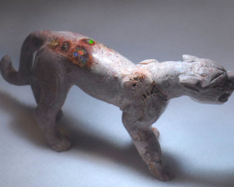 200ct. Jaguar Mexican Cantera Fire Opal Figurine
