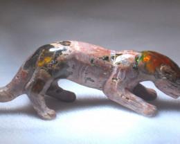 150ct. Jaguar Mexican Cantera Fire Opal Figurine