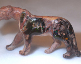 250ct. Jaguar Mexican Cantera Fire Opal Figurine