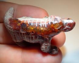 70ct Dragon Figurine Mexican Cantera Fire Opal