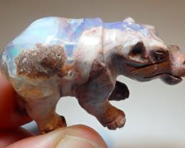 60ct Hippo Figurine Mexican Cantera Fire Opal
