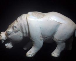1000ct. Hippopotamus Mexican Cantera Fire Opal Figurine