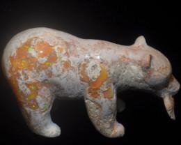 1000ct. Bear Mexican Cantera Fire Opal Figurine