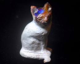70ct. Cat Mexican Cantera Fire Opal Figurine
