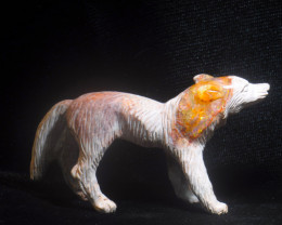 200ct. Wolf Mexican Cantera Fire Opal Figurine