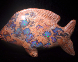 400ct. Fish Mexican Cantera Fire Opal Figurine