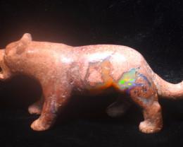 300ct. Jaguar Mexican Cantera Fire Opal Figurine
