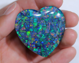 86 Cts  large Australian Opal Triplet Heart shape   Br 2469