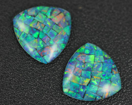 10.9 Cts Pair  Australian Opal Triplets Br 246