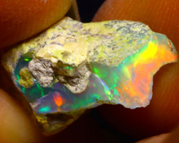 6.87Ct Multi Color Play Ethiopian Welo Opal Rough G0921