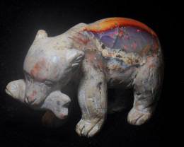 250ct. Bear Mexican Cantera Fire Opal Figurine