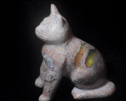 230ct. Cat Mexican Cantera Fire Opal Figurine