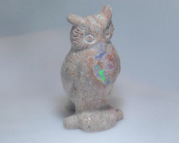 172ct. Owl Mexican Cantera Fire Opal Figurine