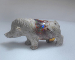 111ct. Wild Pig Mexican Cantera Fire Opal Figurine