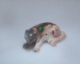53ct. Jaguar Mexican Cantera Fire Opal Figurine