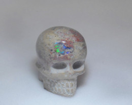 182ct. Skull Mexican Cantera Fire Opal Figurine