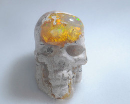 84.5ct. Skull Mexican Cantera Fire Opal Figurine