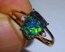 14.70 ct 14k Solid Gold Gem Multi Color Boulder Opal Diamond Ring