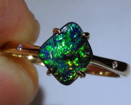 14.65 ct 14k Solid Gold Gem Multi Color Boulder Opal Diamond Ring *