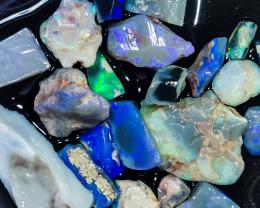 Rough Opal Lot 98.20 cts 23 pcs Black Opals Lightning Ridge BORA180120