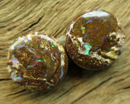 14cts, BOULDER WOOD FOSSIL OPAL~PAIR.