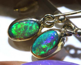 1.53 CTS - SOLID OPAL  SILVER EARRING OF-2717
