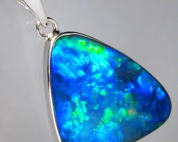 Australian Opal Pendant Sterling Silver Doublet 13.4ct
