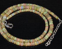 44.70 CT OPAL NECKLACE MADE WITH NATURAL ETHIOPIAN BEADS OBJ-33