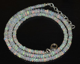38.05 CT OPAL NECKLACE MADE WITH NATURAL ETHIOPIAN BEADS OBJ-34