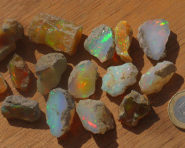 262ct Parcel Ethiopian Welo Opal Rough Sizes .3 - 8.2 grams A#2