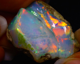 59.65Ct Multi Color Play Ethiopian Welo Opal Rough FN25
