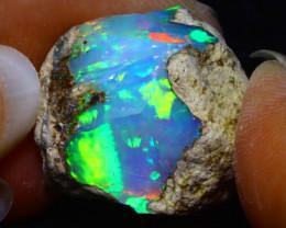 25.30Ct Multi Color Play Ethiopian Welo Opal Rough FN27