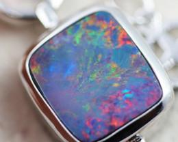 Fire Red Opal doublet  sterling silver bracelet OPJ 2554