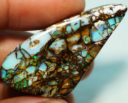 48.20CT RARE GEM 'CATHEDRAL WINDOWS PATTERN' WOOD REPLACEMENT BOULDER OPAL