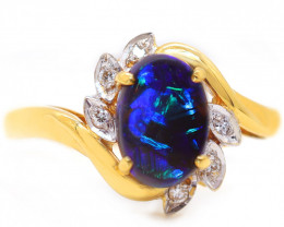 18K GOLD BLACK OPAL RING GOLD AND DIAMONDS [CR74]