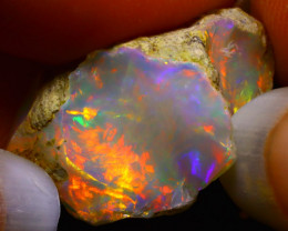 12.19Ct Multi Color Play Ethiopian Welo Opal Rough F0916