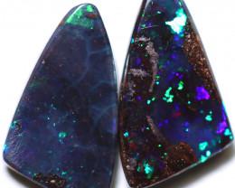 2.20 cts Dark based  Quilpie Boulder opal pair MMR 2376