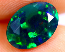 1.05cts Natural Ethiopian Smoked Faceted Black Opal / BF854
