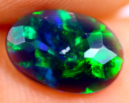 0.90cts Natural Ethiopian Smoked Faceted Black Opal / BF856