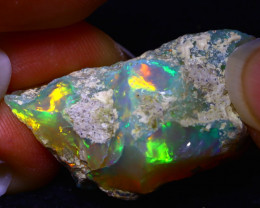 27.43Ct Multi Color Play Ethiopian Welo Opal Rough FR08