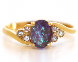 18K GOLD BLACK OPAL RING GOLD AND DIAMONDS [CR76]